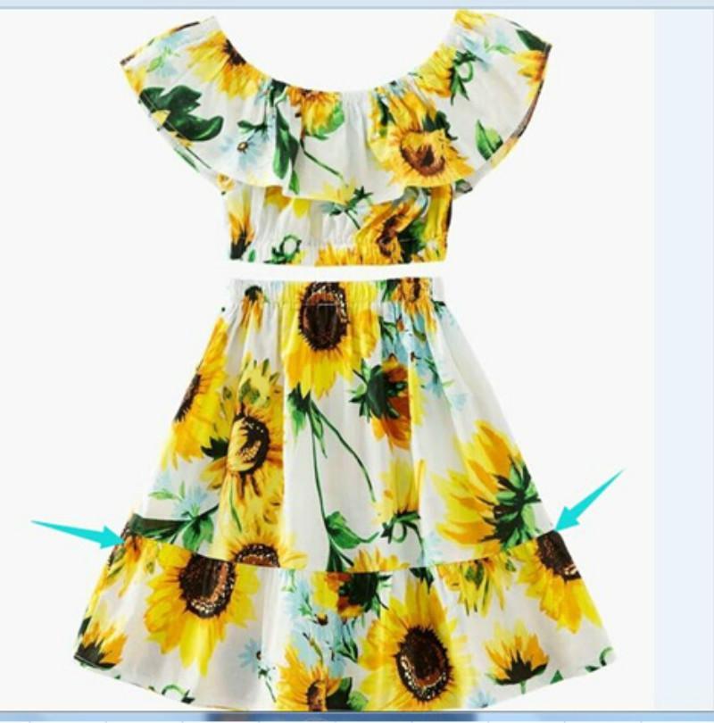 Sunflower Toddler Kids Baby Girls Crop Top Skirt Dress Outfits Clothes UK Stock