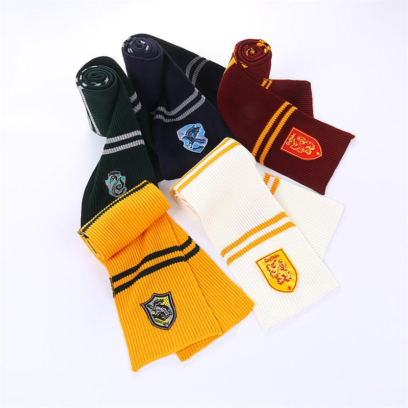 Harry Potter scarf with Badge winter Knitted neckscarf Gryffindor Slytherin School warm neckscarf striped scarf Xmas Gifts hot 3223