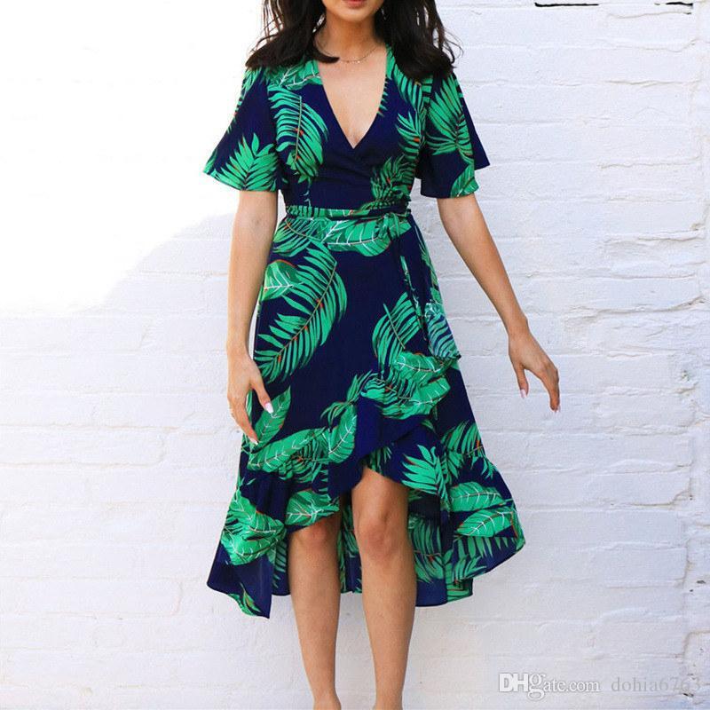 Bahar ve yaz Avrupa Fashio Baskılı V Yaka kollu şifon düzensiz büyük salıncak yüksek bel bayanlar elbise