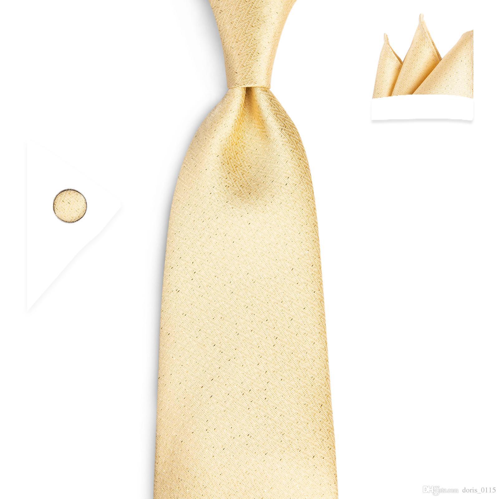 하이 넥타이 새로운 넥타이 골드 솔리드 넥타이 포켓 스퀘어 커프스 단추 100 % 실크 수제 고품질 150cm 넥타이 웨딩 크리스마스 넥타이 SN-7024