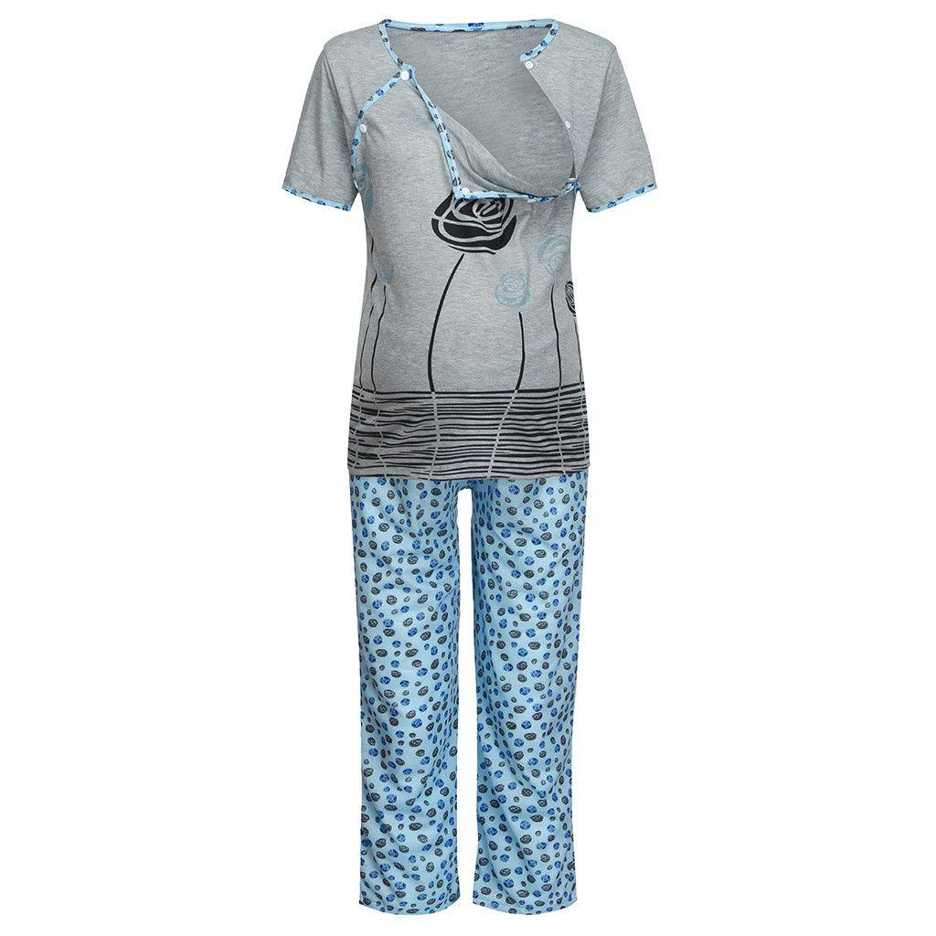 Материнство Пижамы Женщины Материнство Мама Кормящих Цветочный Набор Беременность Грудное Вскармливание Топы Брюки Кормящих Ночная Рубашка Пижама Премама