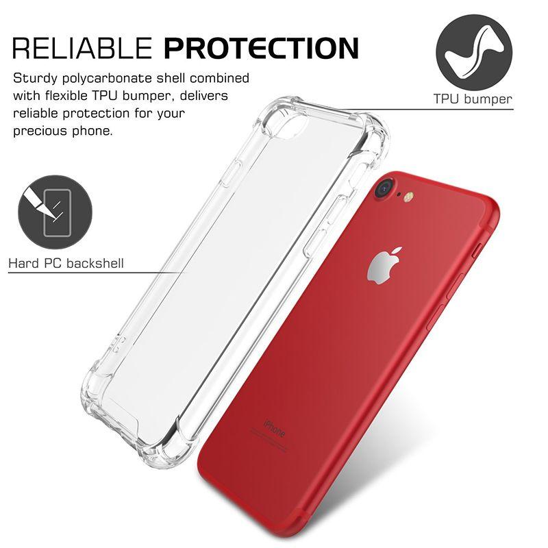 Прозрачный PCU TPU PC Case для iPhone 8 7 6 Plus Acrylic Anti-капля противоударный чехол для iPhone X XS MAX XR Очистить заднюю крышку