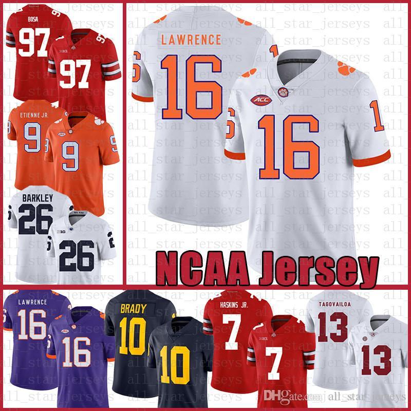 Clemson Tigers American Football Jersey 16 Trevor Lawrence 9 Travis Etienne Jr. Sports Mens Tom Brady Saquon Barkley Retgrt