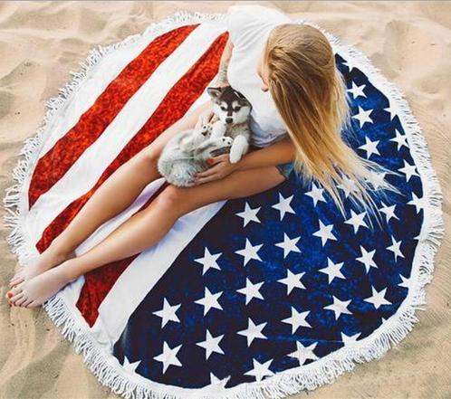 American Flag modello Beach Coperte Asciugamani di occultamento del bikini Beachwear Beach Parei Scialle stuoia di bagno del tovagliolo di yoga di usura rotonda poliestere caldo