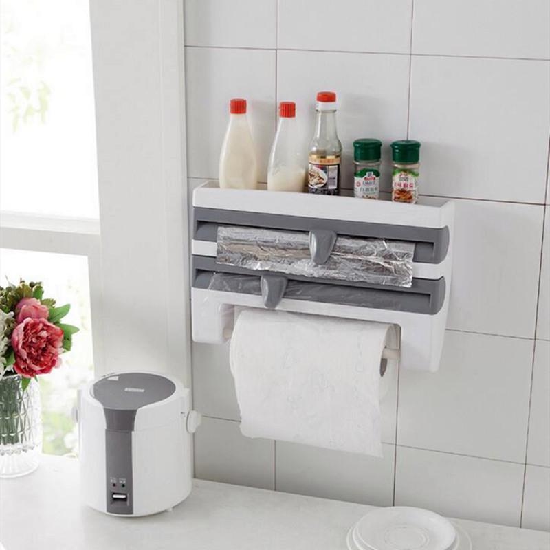Papel Óleo Branco Kitchen Tin Foil cortador parede Frigorífico free-prego armazenamento de filmes Pendure corte Titular Cozinha prateleira