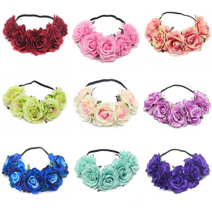 bandas 25Color novia Rose guirnalda de cabeza muchacha de las mujeres floral de la corona Hairband boda Cabeza de caucho elástico banda Garland Bohemia Headwear M1210