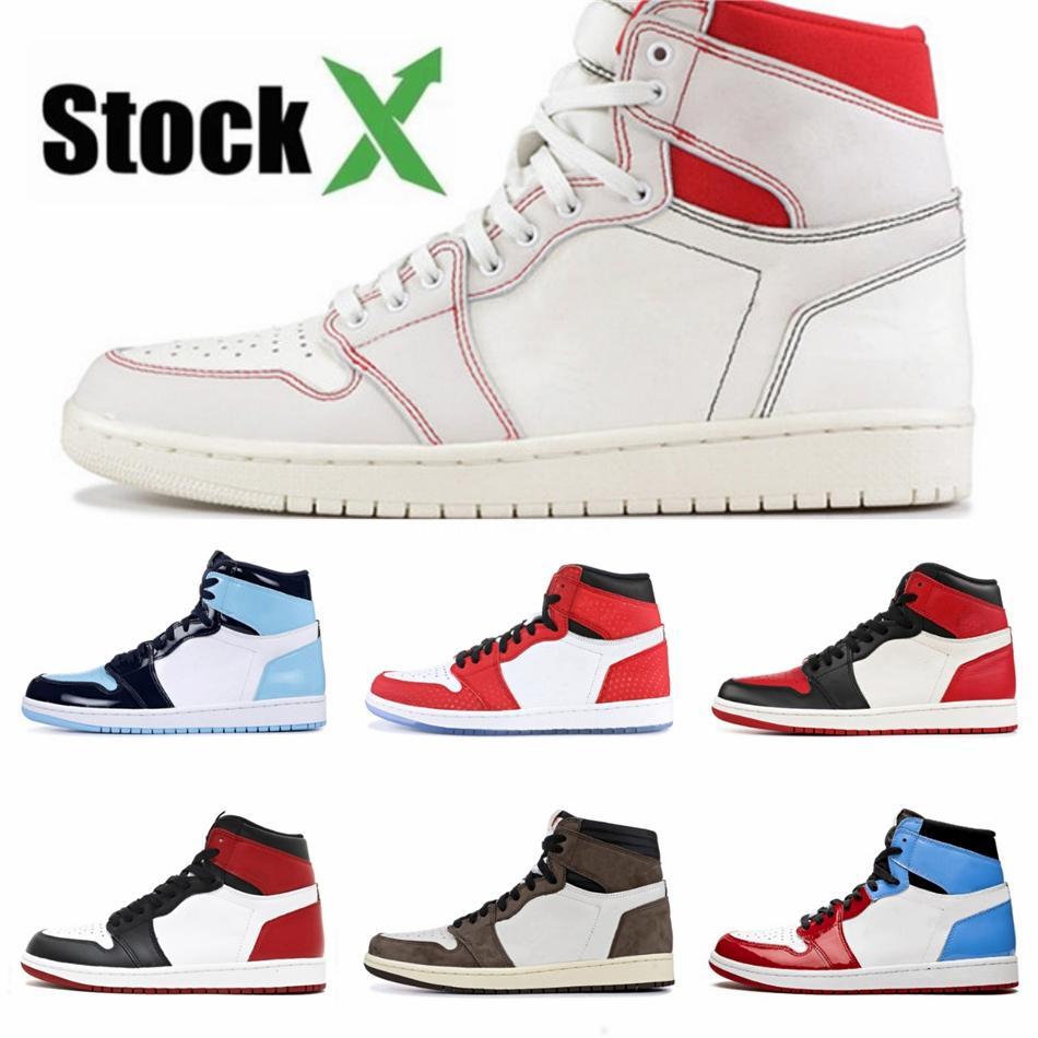 Para hombre de baloncesto femenino 1 1S Jumpman zapatos de punta Bred Chicago Real Men zapatos de deporte diseñador zapatillas de deporte # QA360