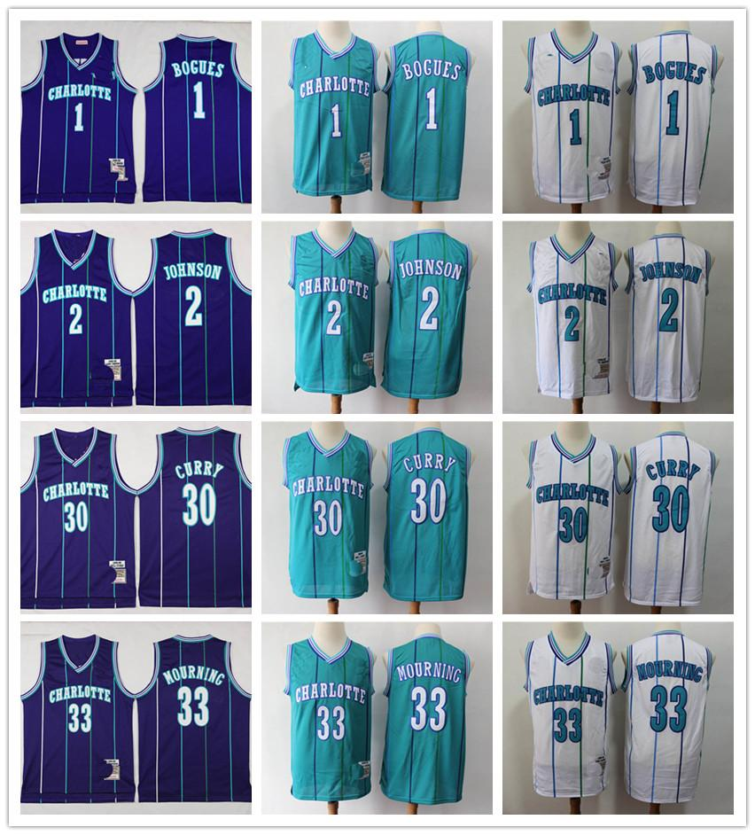 CharlotteHornetsVintageJersey 1 Muggsy Bogues 2 Larry Johnson 30 Dell Curry 33 Alonzo Mourning Mitchell Ness Basketball 1992-93 Jersey chaud