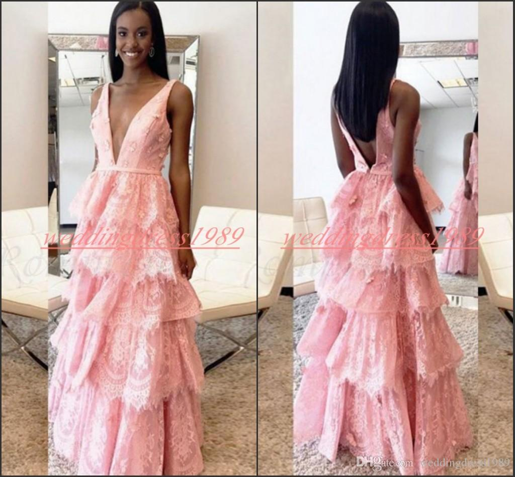 Perfect 2K19 Lace Deep V-Neck Prom Dresses African Party Gowns Backless A-Line Tiers Long Formal Evening Special Occasion Robe De Soiree