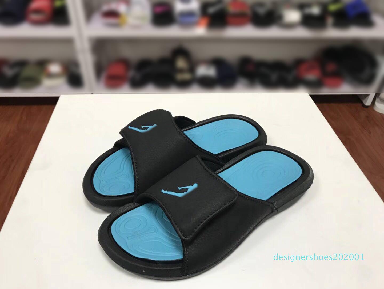 2019 Jump Man 6s Mens Womens Luxury Designer Sandals Fashion Wide Flat Slipper Black Blue Slides Flip Flops Outdoor Indoor Casual Shoes d01