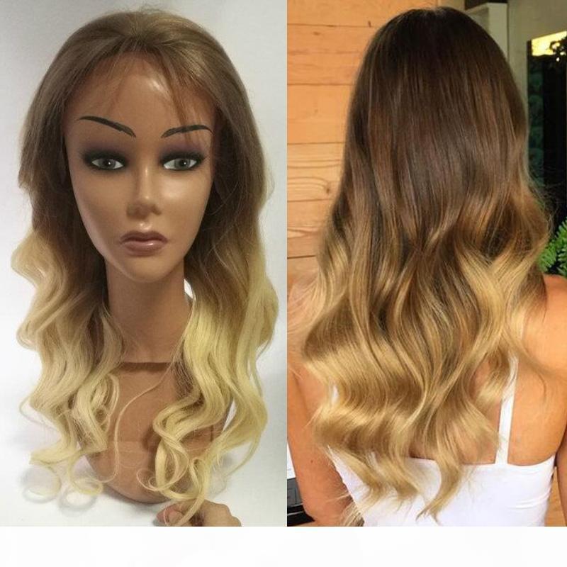 Brasileiro Ombre loira # 6 613 Cabelo Humano Ombre Pêlos onda completa Lace Wigs Virgin Humano Loiro Glueless rendas frente Wigs