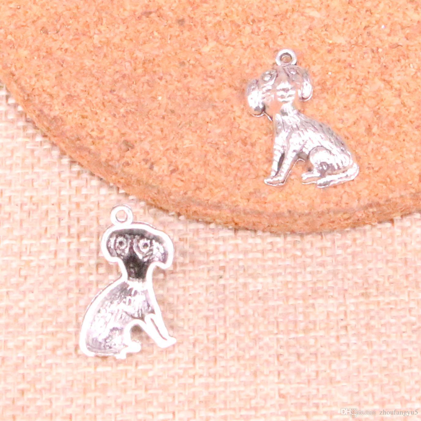 100шт Подвески собаки 22 * 13мм античная Изготовление кулона подходят, Vintage тибетский серебро, DIY ювелирные изделия ручной работы