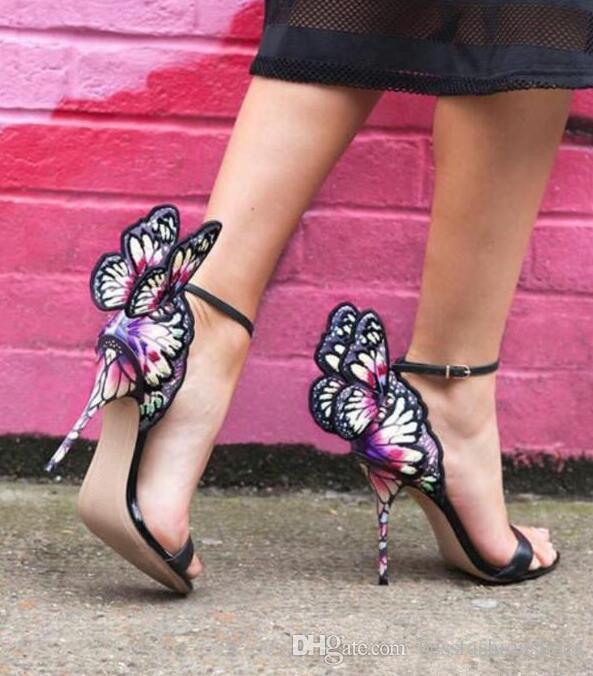 소피아 웹스터 여성 나비 날개 달린 여성 파티 하이힐 샌들 부츠 얇은 굽 웨딩 신발 검투사 여성 쇼 Sandalias 펌프