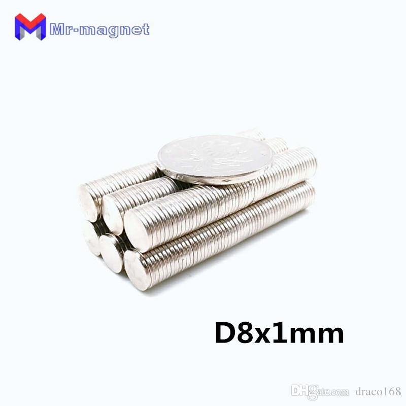 2018 Real Imanes De Nevera 100pcs 8 X 1 Mm Magnet Disc Sintered Ndfeb Teaching D8*1 Super Strong Rare Earth 8x1 Neodymium Magnets D8x1 8*1