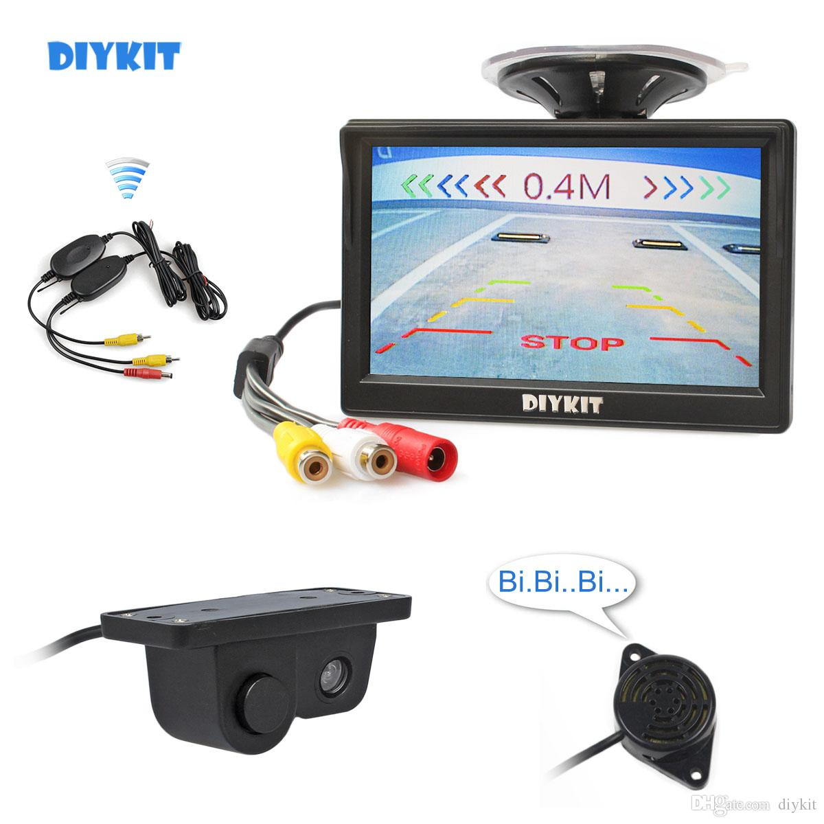 DIYKIT Wireless 5inch Car Monitor + Waterproof Parking Radar Sensor Car Camera Rear View Camera Parking System Kit