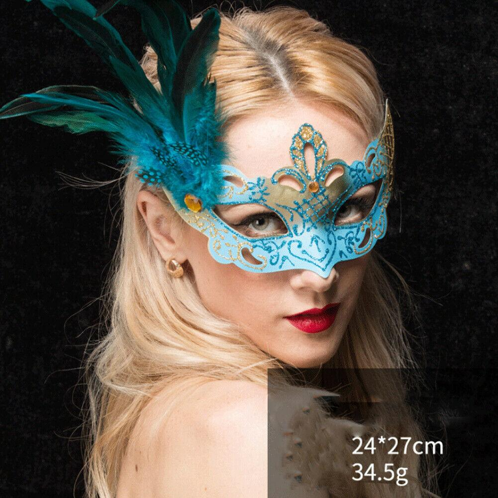 Leopard Masquerade Venetian w// Feather Party Costume Mask
