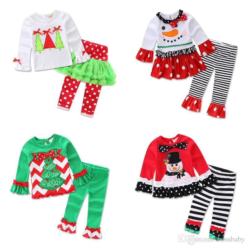 Bebê Equipamentos de Natal Meninas dos desenhos animados do homem da neve Ruffle listrado Traje crianças roupa ocasional Meninas Dot Bow Bota cortar calças flare Calças Sets 06
