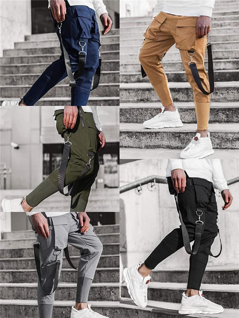 Streetwear Hip Hop Mens Casual Trousers Multi Pockets Ribbon Pencil Pants Mens Slim Solid Color Patchwork Sports Pants