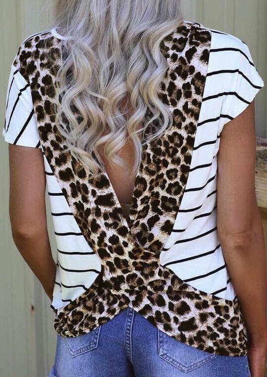 Plus Size Leopard Printed Open Back T Shirt Women Stripe Animal Print Tshirt Women Tops Tee Shirt Femme Camiseta Mujer Harajuku From Baiqian 14 12 Dhgate Com
