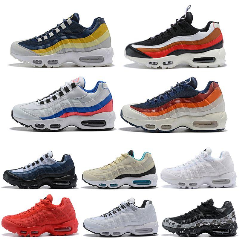 Nike air max 95 triplo branco preto running shoes mulheres todos vermelho amarelo branco preto og neon laser fuchsia mens formadores sapatilhas
