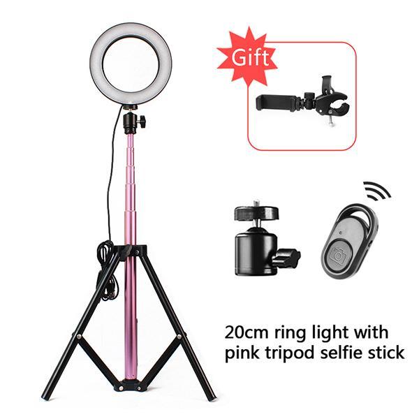 LED الدائري ضوء 10 بوصة 5600 كيلو ضوء مصباح عكس الضوء استوديو الهاتف فيديو مع 150 سنتيمتر ترايبود selfie stickusb المكونات