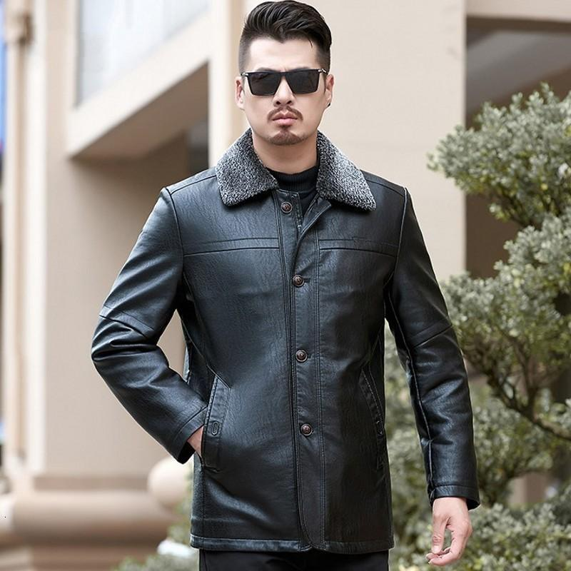 Mens Casual PU Leather Outerwear Coats Winter Fleece Lining Thick Warm Faux Fur Collar Male Medium Length Jackets Plus Size