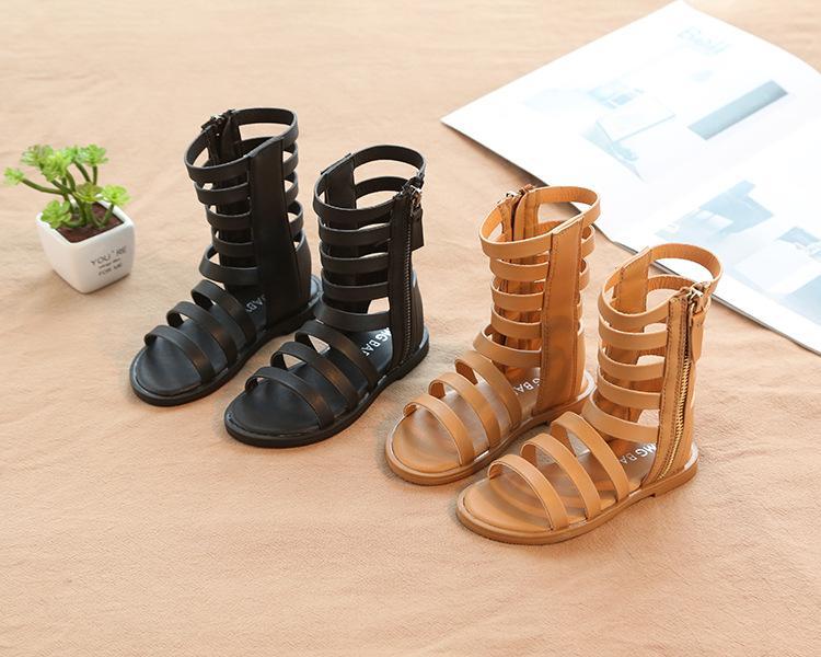 Estilo romano muchacha del niño sandalias con punta abierta Zapatos de bebé de verano zapatos con punta abierta sandalias sólidas niños gladiador sandalias de alta calidad de 3 colores