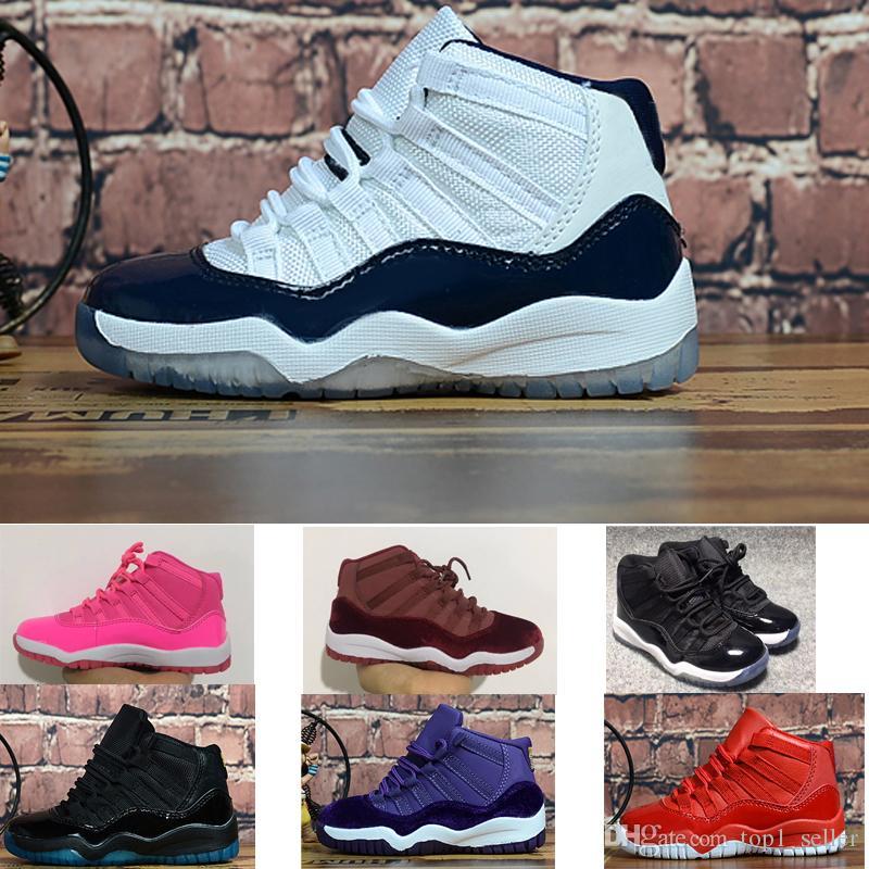 2020 En Yeni XI orta yüksek 11 11S uzay sıkışması Çocuk basketbol ayakkabıları erkek kız genç çocuk spor Sneaker boyutu 28-35