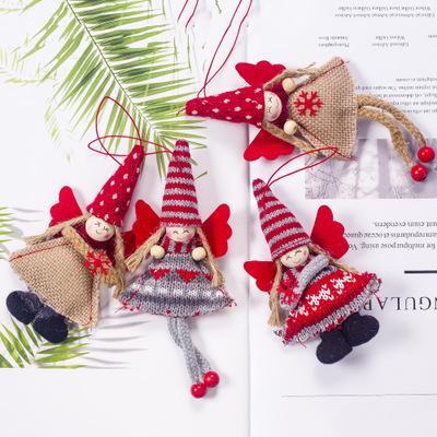 2019 nueva moda de Navidad decoraciones de lana colgante de tela niña ángel colgante pequeño árbol de navidad decoración armario