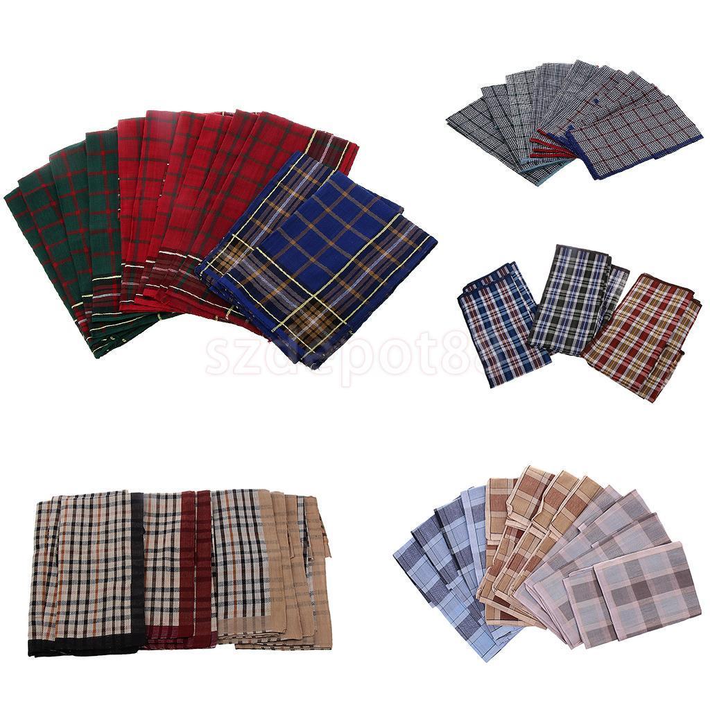 Pañuelos del banquete de boda del pañuelo del algodón del pañuelo de la tela escocesa del vintage de los hombres 12pcs