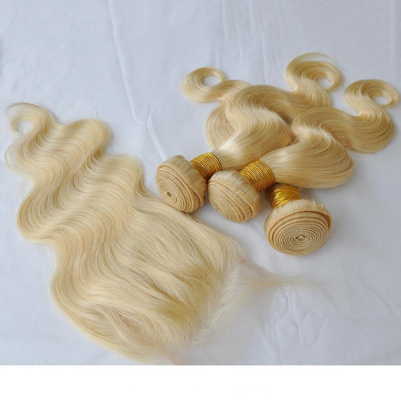 Elibess Brand 4x4 closure 3pcs lot deep curly blonde human hair kinky curly body wave 613 blonde bundles with closure