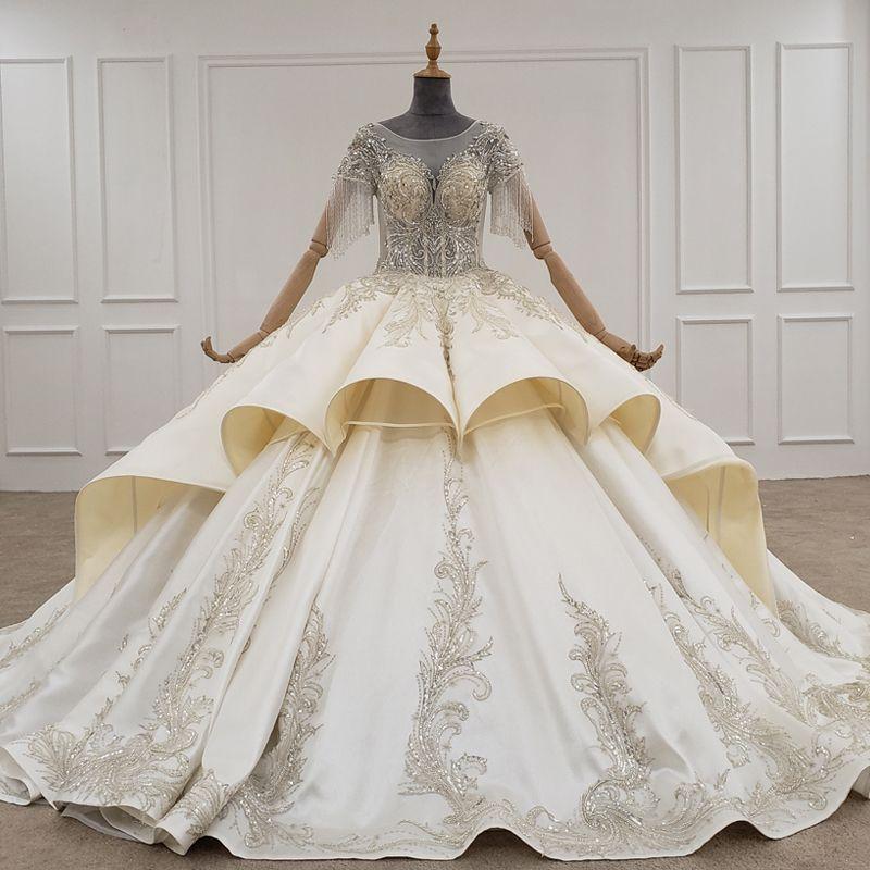 2020 Mariage élégant Robes O cou à manches courtes avec pompons main Appliques pailletée hiérarchisé robe de mariée robe de bal Robe de mariage SIRENE