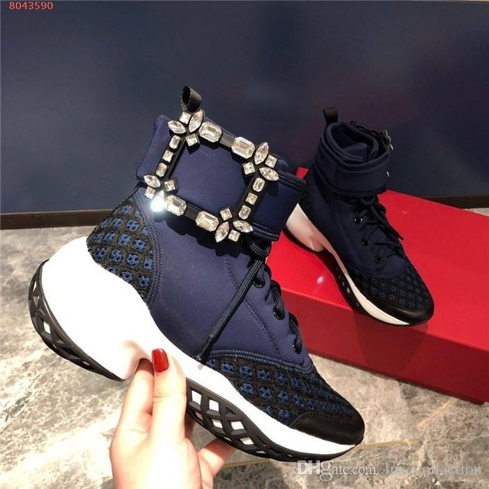 Mulheres botas de cristal tornozelo com fivela quadrada, sapatos desportivos com solas grossas, altura crescente tênis de alta-top, conjunto completo de caixa de sapato