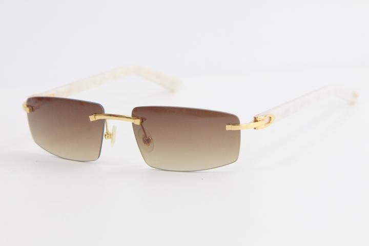 새로운 무테 대리석 화이트 판자 선글라스 8100926 스타일 Utdoor 디자인 클래식 모델 선글라스 고품질 안경 남성과 여성