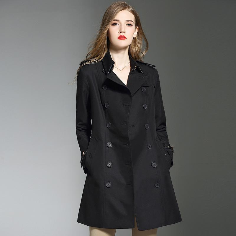 Atacado-Inglaterra Trench coats pretas das mulheres estilo Novo 2018 Outono pista dupla blusão breasted D529 coat