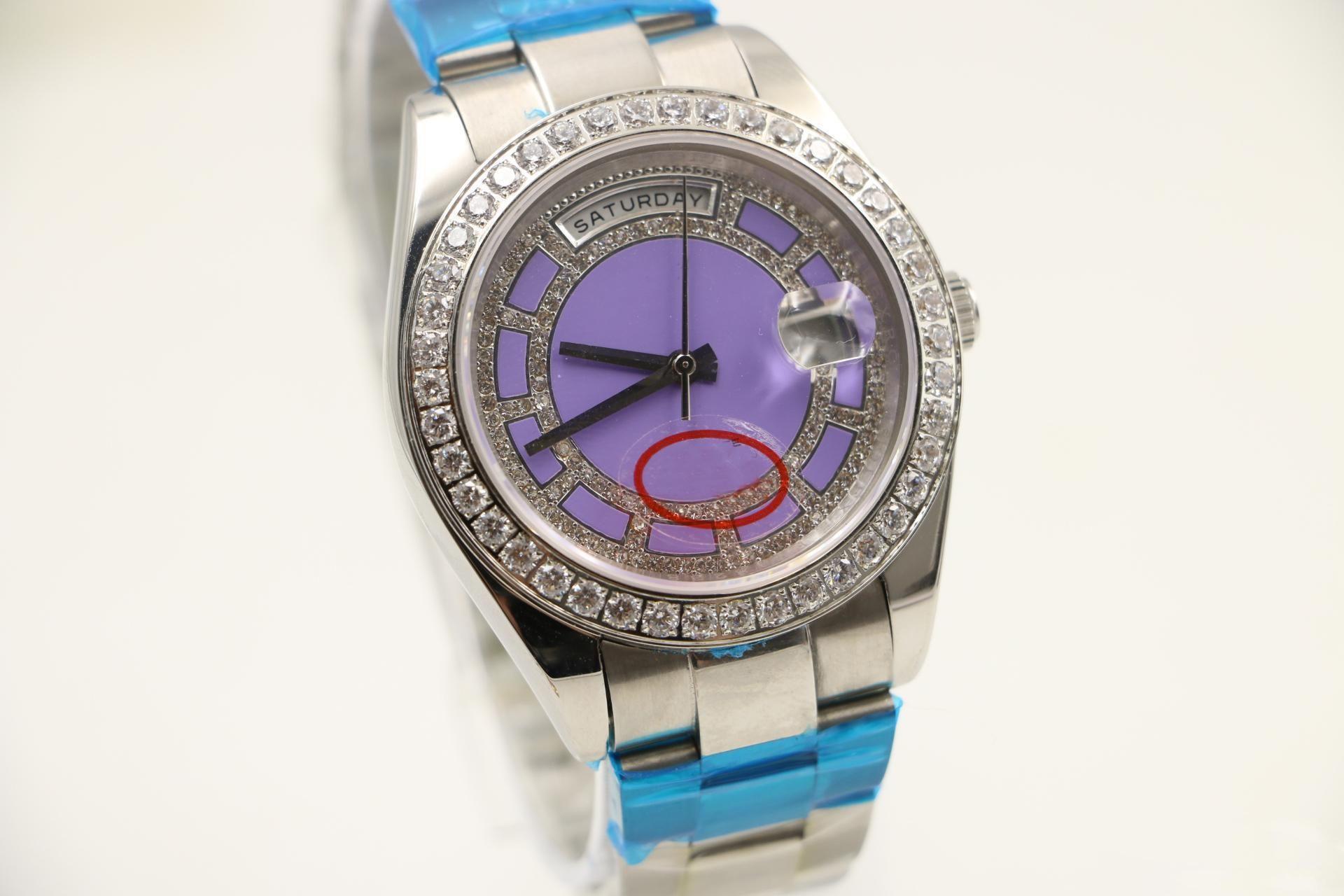 2019 뜨거운 판매 40mm 자동 시계 시계 시계 날짜 날짜 표시 라운드 다이아몬드 전화 스테인레스 보라색 다이얼 케이스