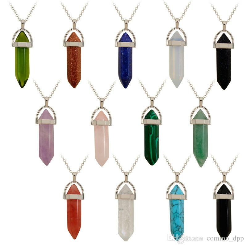 Luxury Natural stone Crystal quartz Healing Necklaces Bullet Hexagonal prism Point agate turquoise Opal Jasper Pendant For Jewelry Bulk