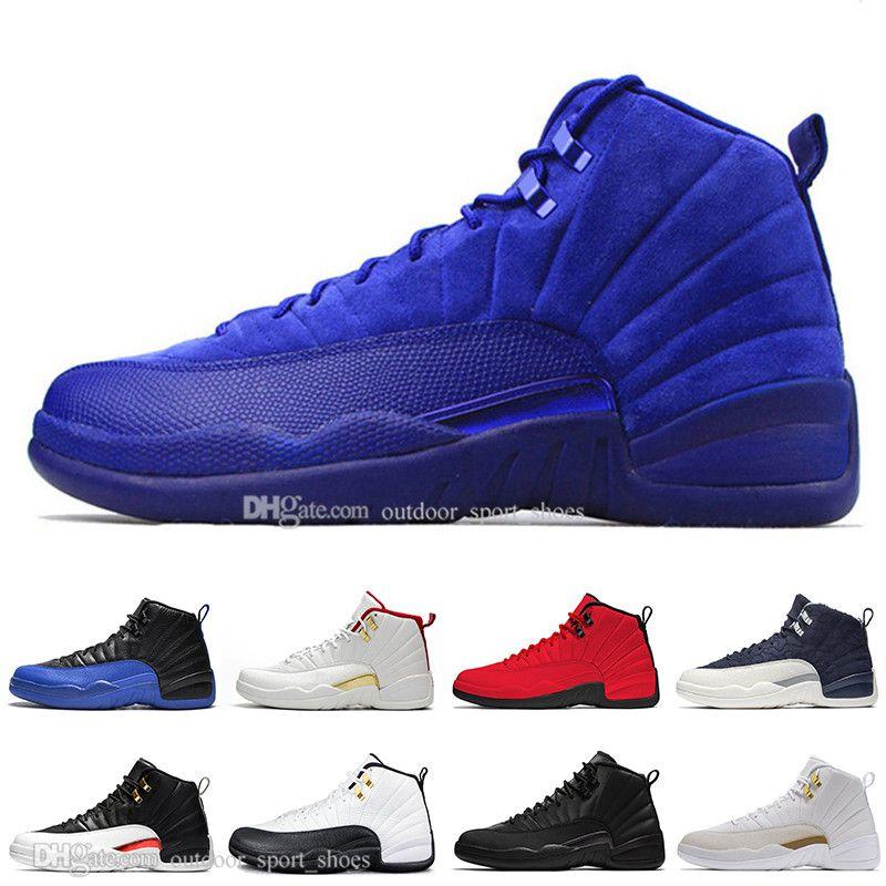 Hot Deep Royal Blue Suede 12 12s Dark Grey zapatillas de baloncesto para hombre Gamma Blue Bordeaux Reverse Taxi hombres zapatillas deportivas de diseño deportivo