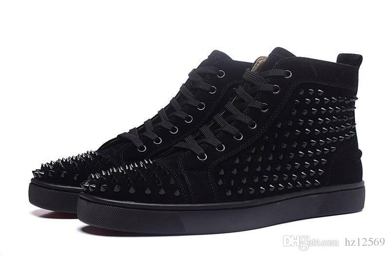 Esclusivi nuovi mens di alta qualità grigio con scarpe casual a fondo rosso con punte, sneakers alte da donna alte 35-47 Y681