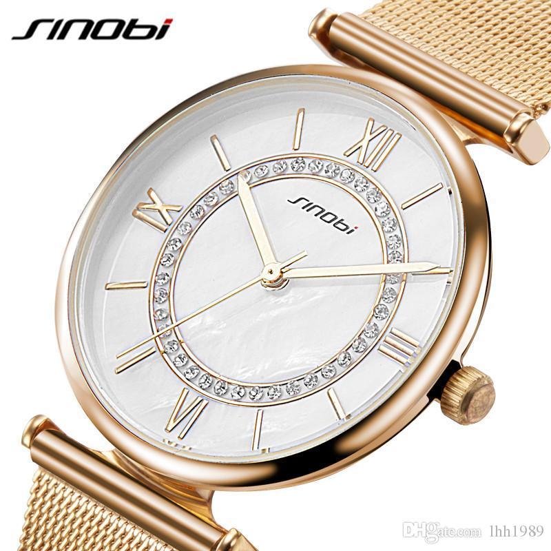 2019 SINOBI Super Slim Gold Mesh Stainless Steel Watches Women Top Luxury Casual Clock Woman Wrist Watch Lady Relogio Feminino