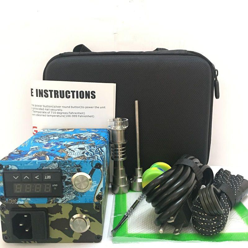 Portable coloré ENAIl électrique dab ongles kits PID température numérique dabber boîte avec Ti Quartz ongles chauffe-bobine pour verre d'eau bong