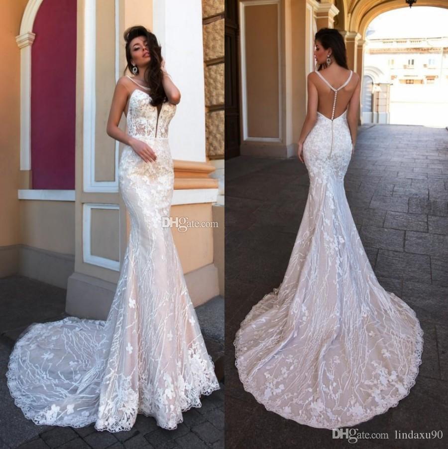 Gorgeous Mermaid Wedding Dresses Jewel Neck Beaded Lace Appliqued Bridal Gowns Sweep Train Custom Made robes de mariée