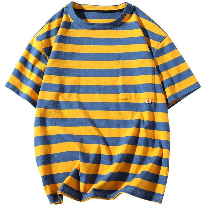 Männer-T-Shirts Kurzarm Tops Kleidung Herren Gestreifte Tops Kleidung der Männer gestreiftes T-Shirts Summer Fashion Stickerei Designer