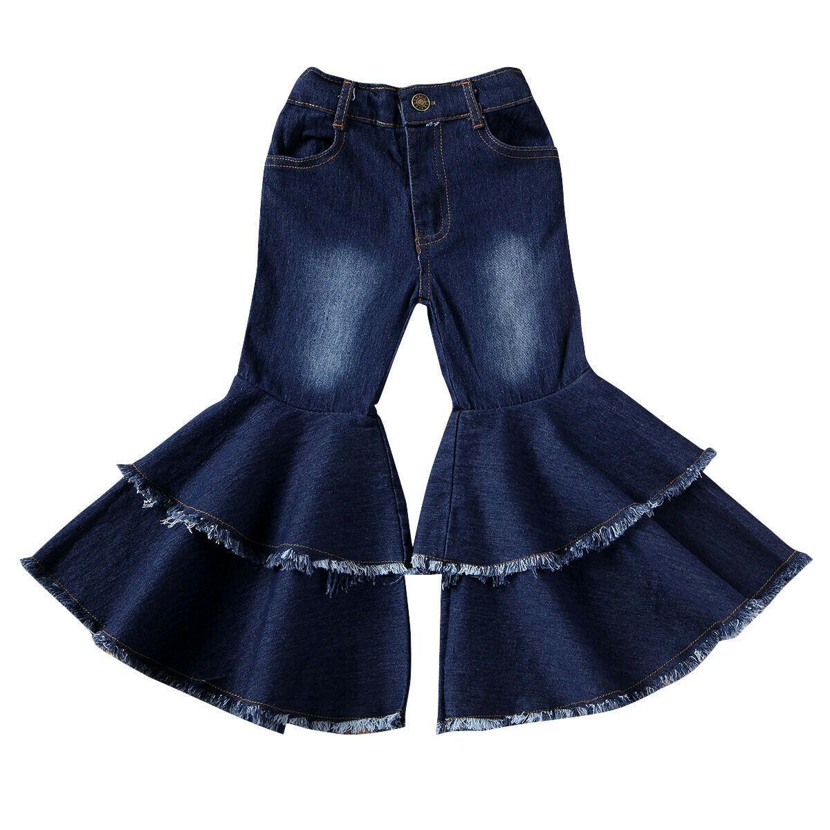 Novità del fondo caldo del bambino del bambino dei capretti dei bambini vestiti della ragazza campana Flare jeans del denim dei pantaloni della ragazza di autunno della molla delle ghette Pantaloni