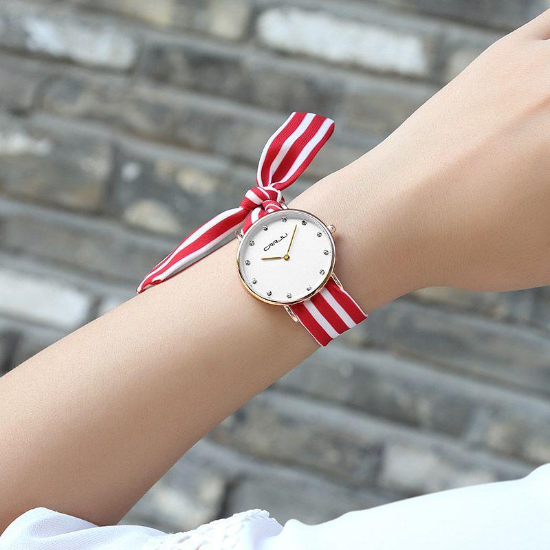CRRJU جديد السيدات فريدة زهرة القماش ساعة اليد أزياء النساء اللباس ساعة قماش ذات جودة عالية ووتش الفتيات الحلو اسوارة