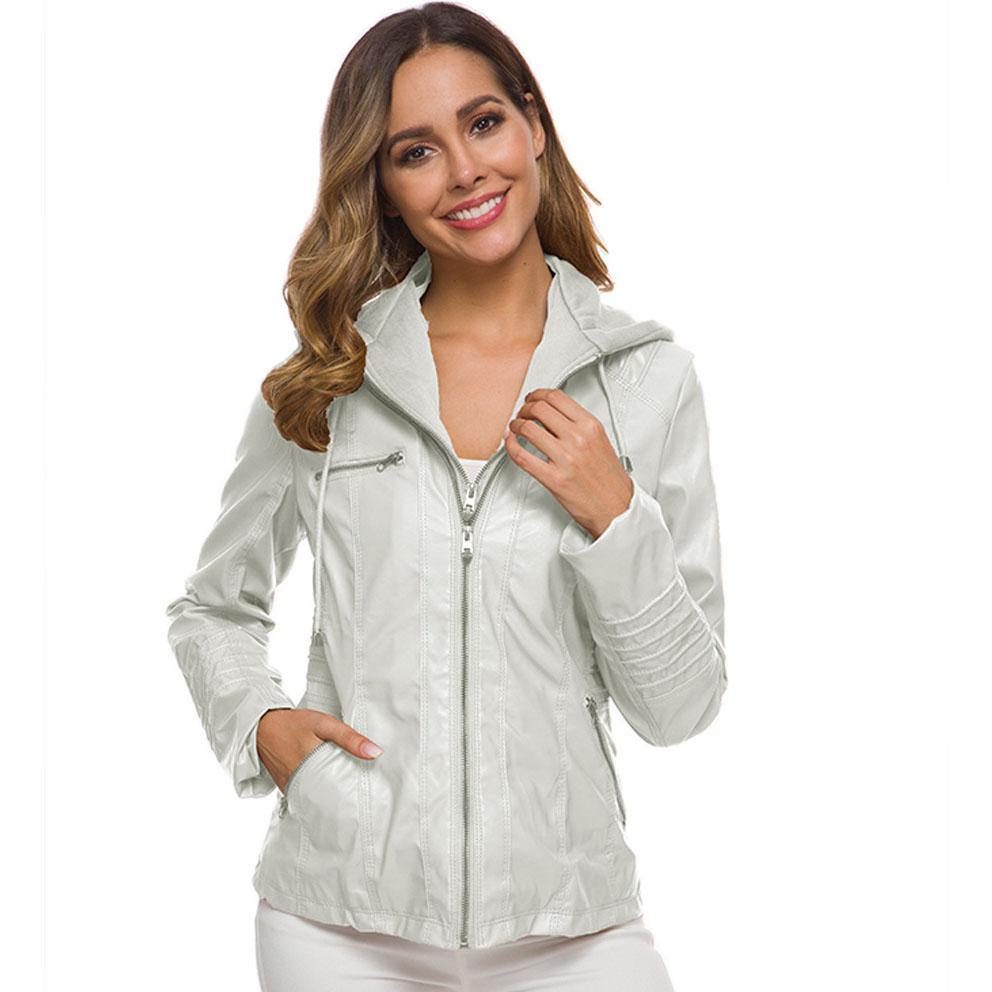 Women Fashion Jacket Long-sleeve Zipper Leather Female Short Section Large Size Coat Fashion Handsome Simple Wild Jacket Wholesale