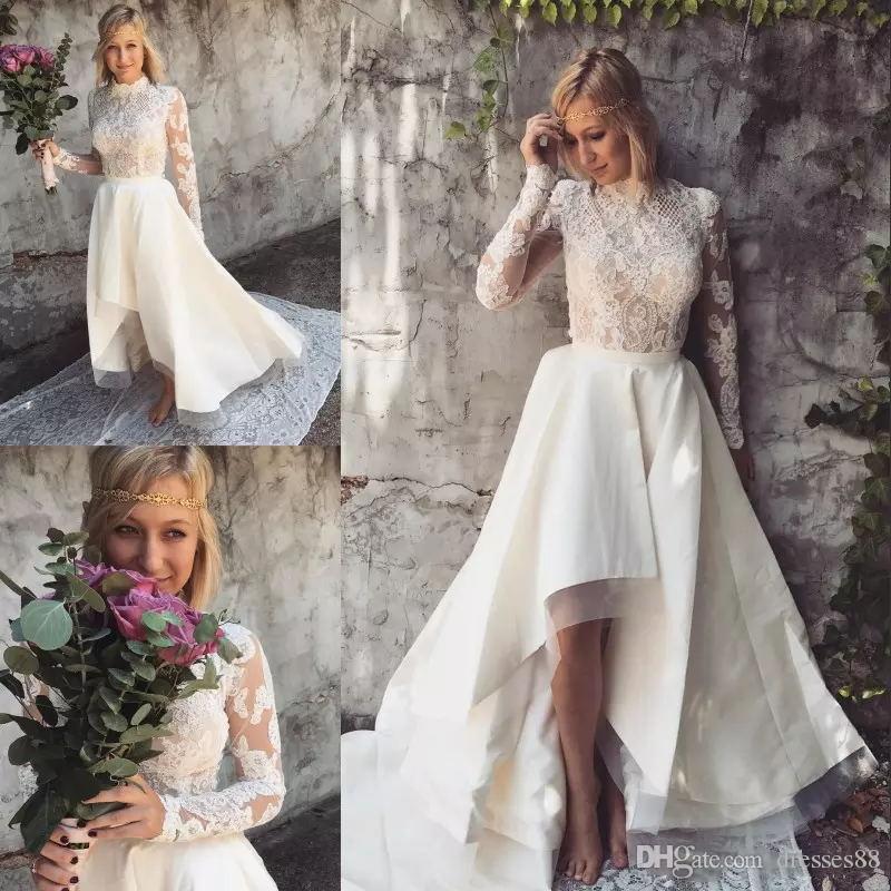 Стильные высокие низкие кружевные пляжные свадебные платья в линию с высоким вырезом и длинными рукавами богемные свадебные платья сатин плюс размер Boho Vestido De Novia