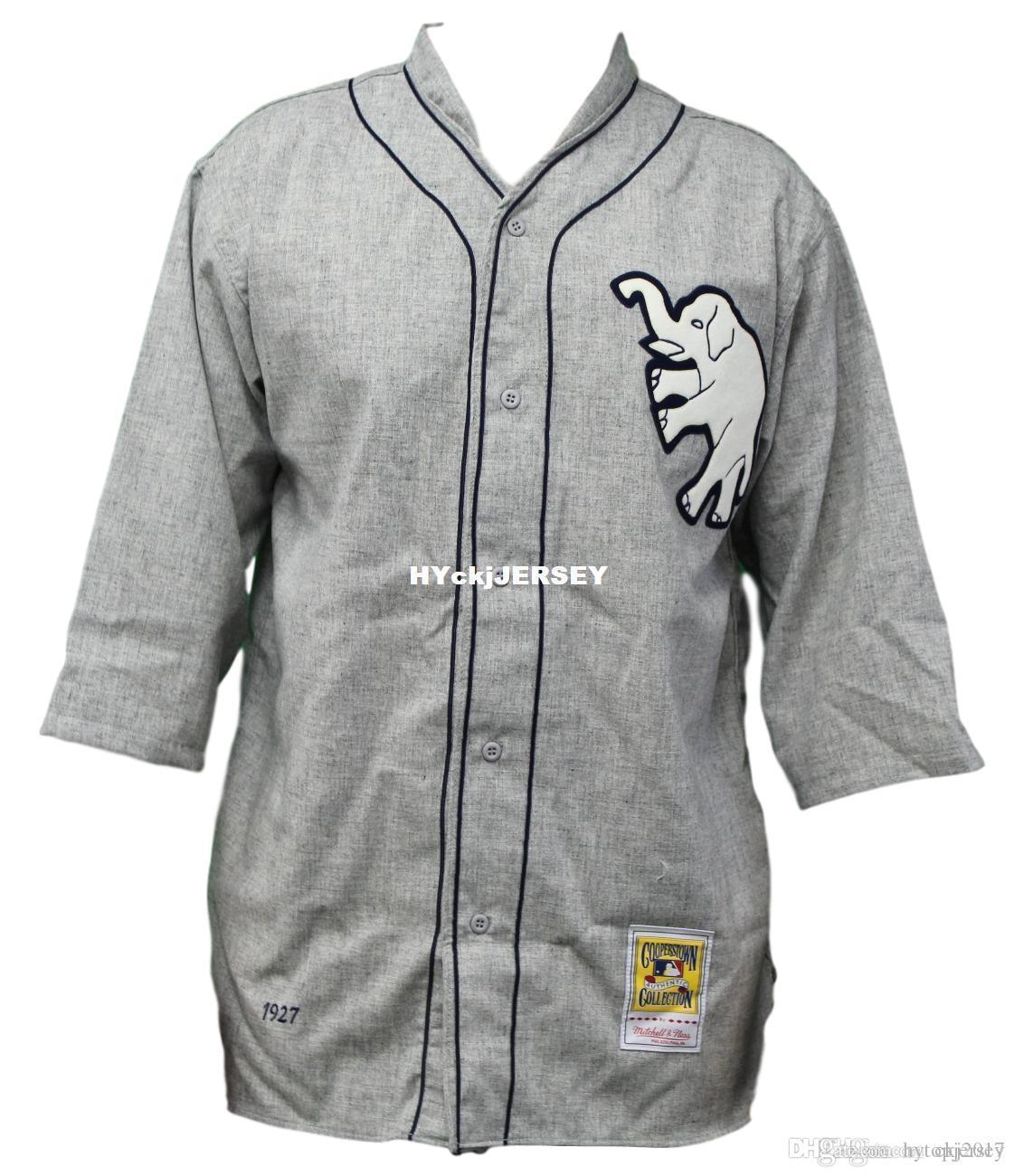 Günstige Philadelphia Athletics Mitchell Ness Retro 1927 Wolle Startseite Grau Jersey