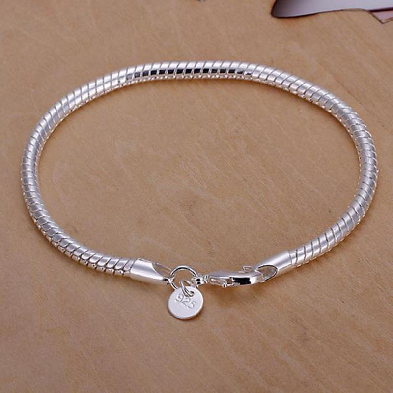 """Fashion Unisex Stainless Steel Silver Plating Chain Necklace Jewelry 17.5/"""" 4mm"""