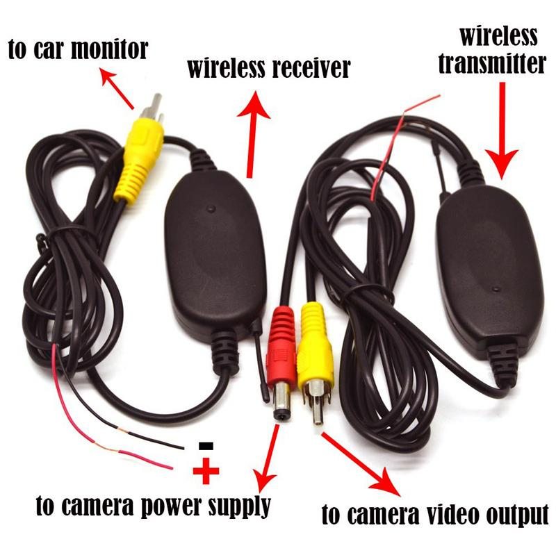자동차 DVD 모니터 GPS 리어 뷰 카메라에 대한 2017 2.4G 무선 RCA 비디오 송신기 수신기 키트는 백업 후방 카메라를 역방향